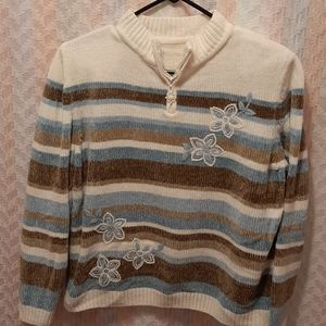 ♠️ Floral Embroidered Blue Striped Sweater